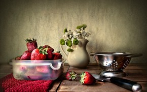 Picture flowers, berries, strawberry, knife, pitcher, a bunch, дуршлыг