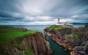 Picture sea, landscape, nature, rocks, lighthouse, Ireland, Donegal, Fanad Head Lighthouse, the Peninsula, County Donegal, Fanad …