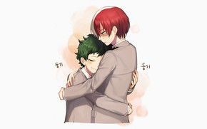 Picture hugs, two, Boku no Hero Academy, My Hero Academia, Midori Isuku, Todoroki Shoto, My heroic …