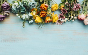 Picture flowers, background, roses, colorful, buds, wood, flowers, roses, bright