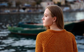 Picture girl, face, back, profile, sweater, Denis Lankin, Ksenia Glazko