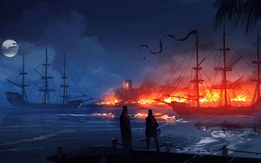 Picture Port, Night, Fire, Ships, RAID, Illustration, Concept Art, Fort, Dominik Mayer, Zaton, Environments, by Dominik …