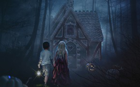 Picture forest, night, children, gingerbread house, photoart