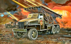 Picture USSR, The red army, The second World war, MLRS, BM-13, The Great Patriotic War, Katusha