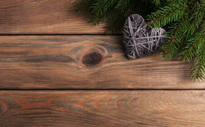 Picture New Year, heart, heart, merry, decoration, fir tree, Christmas, fir-tree branches, wood, love, decoration, christmas