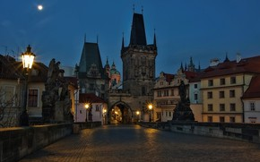 Picture the city, the evening, Prague, lights, Charles bridge, medieval architecture