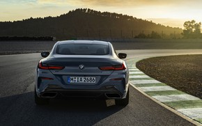 Picture coupe, track, BMW, Coupe, 2018, feed, gray-blue, 8-Series, pale blue, M850i xDrive, Eight, G15