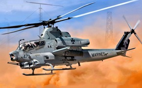 Picture USA, Super Cobra, USMC, Attack helicopter, AH-1Z Viper, Combat helicopter, Shark mouth