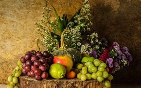 Picture flowers, apples, bouquet, grapes, fruit, still life, pear, flowers, fruit, grapes, still life