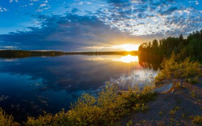 Picture the sun, clouds, landscape, river, Finland, Finland