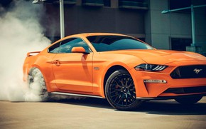 Picture reflection, transport, smoke, car, Ford MUSTANG GT - serie IV