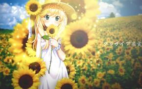 Picture summer, girl, flowers, retouching, Grisa of no Kajitsu, Michiru Matsushima, by tammypain, podsolnuh