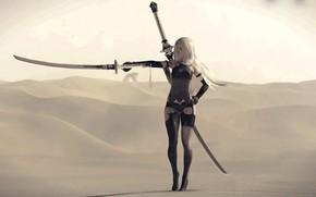 Picture girl, desert, sword, katana, cyborg, Nier Automata