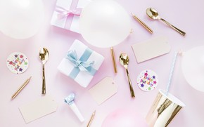 Picture decor, Birthday, Birthday, gifts, pink .background