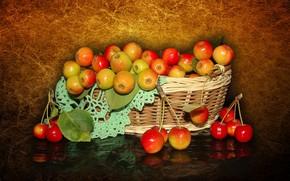 Wallpaper nature, mood, apples, beauty, basket, beautiful, beautiful, kitaika, beauty, harmony, the Wallpapers, wildflowers, cool, bouquet, ...