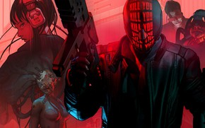 Picture girl, weapons, mask, male, cyborg, red, Ruiner