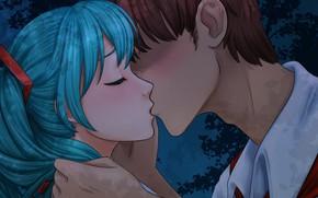 Picture girl, romance, kiss, art, pair, guy, two, Vocaloid, Hatsune Miku