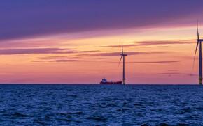 Picture sea, sunset, ship, windmills, Finland, Finland, windmills, Bothnian Sea, Ботническое море