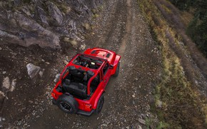 Picture red, stones, movement, slope, top, back, 2018, Jeep, Wrangler Rubicon