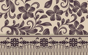 Picture pattern, texture, wallpaper, ornament, brown, beige, floral, seamless