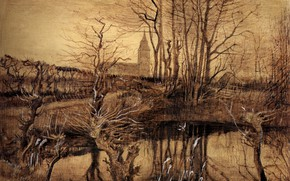 Picture branches, lake, Vincent van Gogh, The Kingfisher