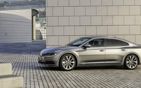 Picture wall, pavers, Volkswagen, 2018, Elegance, liftback, 2017, Arteon, gray-silver
