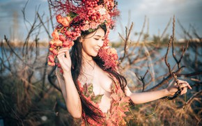 Picture chest, leaves, girl, light, flowers, branches, nature, face, pose, smile, style, portrait, dress, brunette, outfit, …