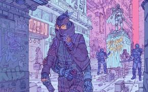 Picture Girl, The city, Robot, Fantasy, Art, Art, Robot, Fiction, Cyborg, Sci-Fi, Cyberpunk, Cyberpunk, by Josan …