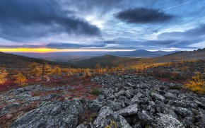 Picture the sun, trees, sunset, mountains, clouds, stones, Valley