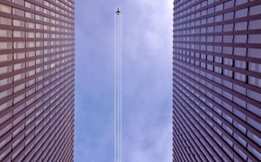 Picture the city, home, the plane, vapor trail