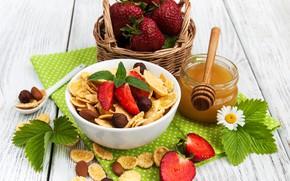 Picture berries, Breakfast, strawberry, honey, cereal, corn, Olena Rudo