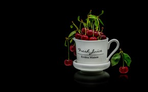 Picture cherry, reflection, berries, mug, Cup, red, white, leaves, black background, cherry