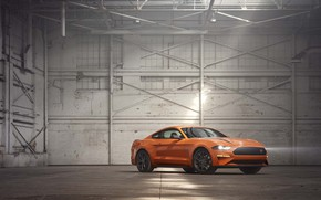 Picture Orange, Ford Mustang, Muscle Car, EcoBoost, 2020