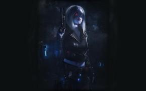Picture Girl, Gun, Dark, Art, Art, Cyborg, Cyberpunk, Cyberpunk