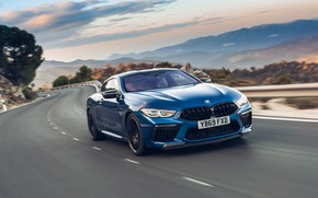 Picture road, speed, the evening, BMW, Coupe, Competition, UK-Spec, 2019, BMW M8, F92