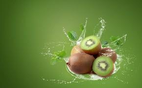 Picture water, squirt, green, background, splash, kiwi, fruit