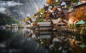 Wallpaper mountains, lake, home, Austria, Hallstatt