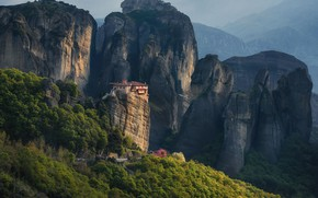 Picture landscape, mountains, nature, rocks, vegetation, Greece, forest, the monastery, Meteors, Materov.