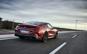 Picture coupe, speed, BMW, roadside, Coupe, 2018, 8-Series, dark orange, M850i xDrive, Eight, G15