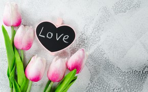 Picture love, flowers, heart, bouquet, tulips, love, pink, heart, pink, flowers, beautiful, romantic, tulips, valentine's day, ...