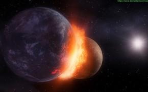 Picture the explosion, planet, comet, meteorite, comet