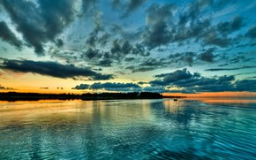 Picture sunset, clouds, river, shore, the evening