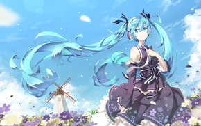 Picture the wind, headphones, vocaloid, Hatsune Miku, Vocaloid, blue hair, cosmos, windmill, against the sky, summer …