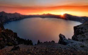 Picture sunset, lake, crater