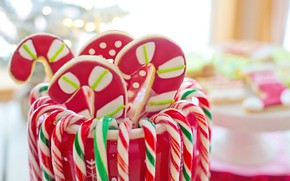 Picture winter, strips, holiday, cookies, Christmas, candy, Bank, red, New year, staff, light background, figures, a …