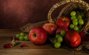 Picture apples, grapes, fruit, still life, basket