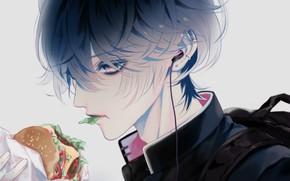 Picture guy, school uniform, hamburger, eating