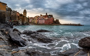 Picture sea, wave, the sky, clouds, the city, stones, overcast, shore, building, home, Italy, surf, architecture, …