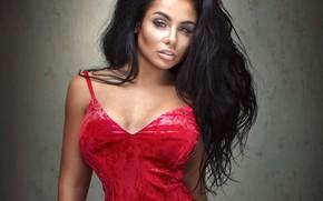 Wallpaper look, pose, background, portrait, makeup, dress, brunette, hairstyle, beauty, in red, bokeh, dark