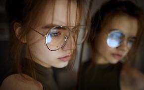Picture girl, reflection, glasses, Aleks Five